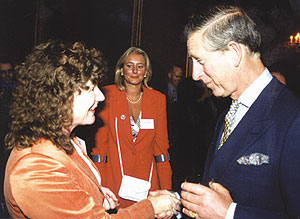 Kay Zega answering Prince Charles' questions about Reiki at St James' Palace May 2003